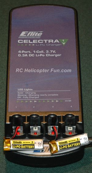 Charging Esky 150 1S LiPo's with Eflite Celectra charger.