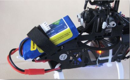Blade 200 SRX 3S 800 mAh LiPo Installed With Balance Plug Secured.