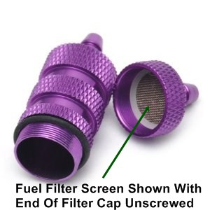 Typical Nitro Fuel Filter Unscrewed For Screen Cleaning