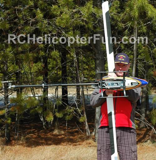 Checking RC Helicopter CG By Holding It Sideways To The Ground