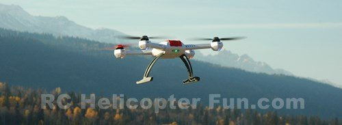 RC Quadrocopter Flying In The Mountains