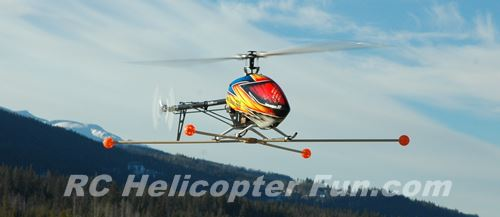Larger 600 Size RC Helicopter Hovering With Training Gear