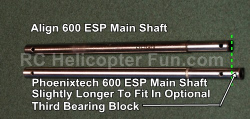 Phoenixtech 600ESP Main Shaft Comparison
