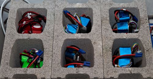 RC LiPo Batteries Stored In Concrete Blocks