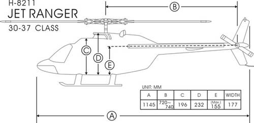 FunKey 30/550 Size Jet Ranger Dimensions