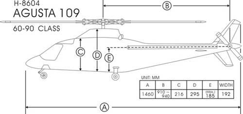 FunKey 90/700 Size Agusta 109A Dimensions