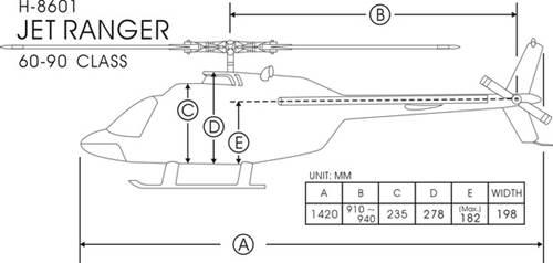 FunKey 90/700 Size Jet Ranger  Dimensions