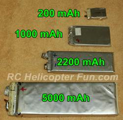 RC LiPo Battery Capacity Cell Size Comparison