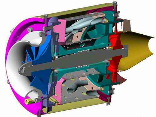 Centrifugal Flow Model Turbine Engine