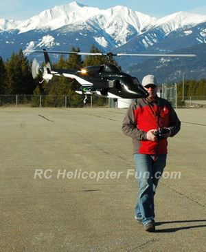 John Salt flying Airwolf RC helicopter