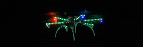 Autonomous RC Multi Rotor RC Helicopter Equiped With High Output LED's For Night Flight.