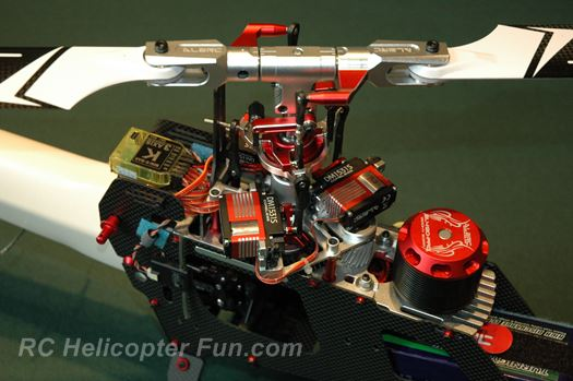 RC helicopter kit components and layout.