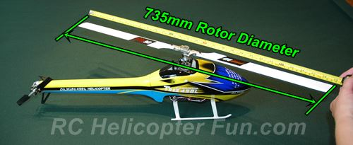 RC Helicopter Size Shown As Rotor Diameter
