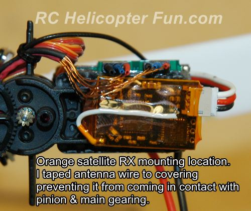 Orange satellite RX mounted to T-Rex 150X