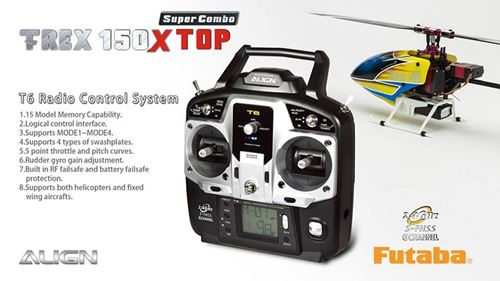 T-Rex 150X Top Super Combo With Align T6 Radio