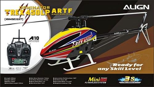 The Align Trex 450LP ARTF is a great ready to fly 450 size heli to start and learn on.