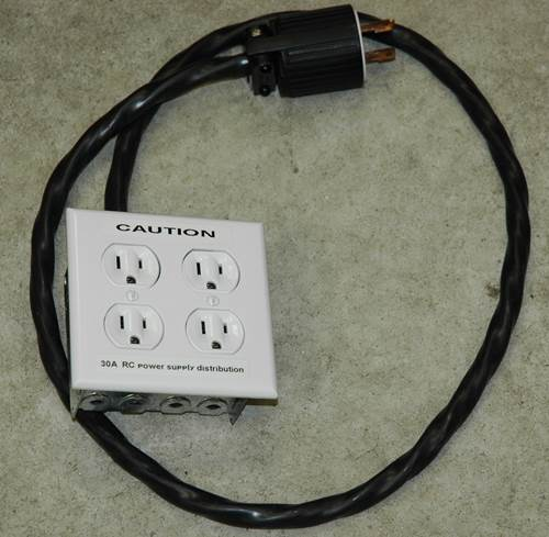 Dual Duplex 15A plugs wired to 30A Twist Lock Plug