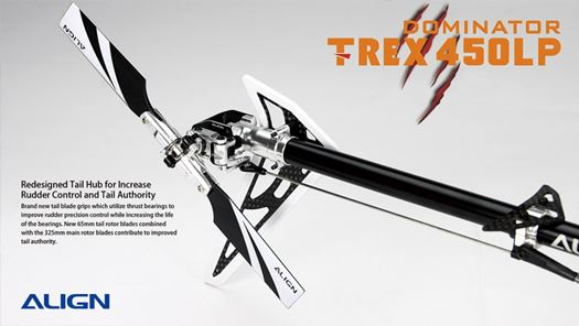 Align's T-Rex 450LP ARTF uses a torque tube over a belt driven tail rotor.