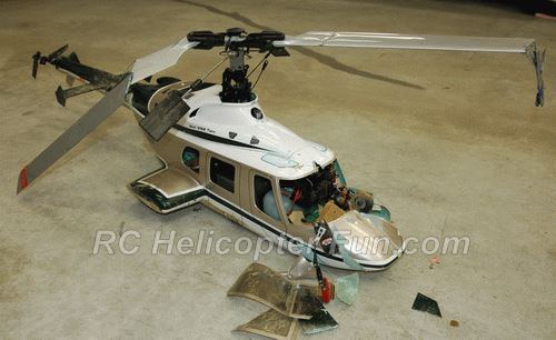 Crashed Scale RC Helicopter