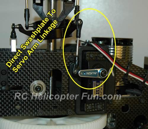 Direct servo arm linkage to swashplate