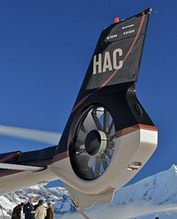 Fenestron tail uses a variable pitch ducted fan mounted inside the tail fin to counter torque and provide yaw control.