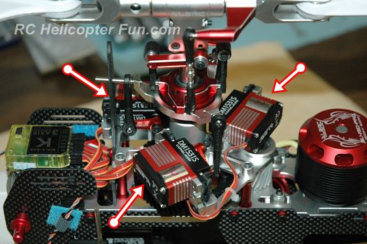 Typical RC Helicopter 3 Cyclic Servos Installation
