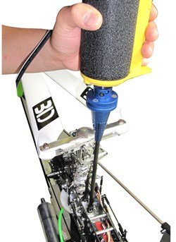 Nitro RC Helicopter Starting Using An External Electric Starter & Shaft