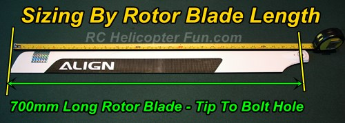 Large RC Helicopters Size Shown By Rotor Blade Length - The mostly accepted standard.