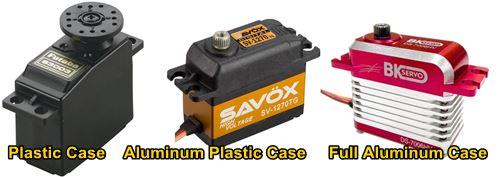 The Three Primary RC Servo Body Material Configurations - Plastic, Plastic Aluminum Combo, Full Aluminum