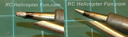 Dirty and clean solder tip