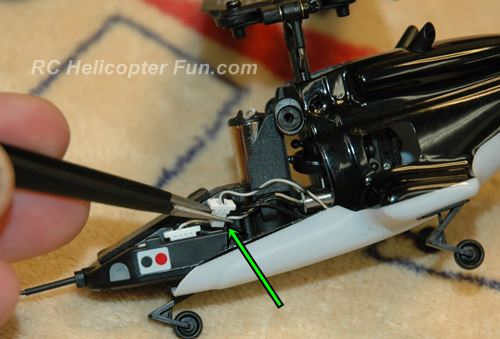 Unplug the tail rotor motor plug from the Esky CC3D 5 in 1 control unit.
