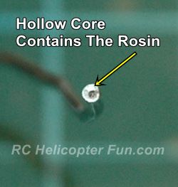 Rosin core solder contains the rosin flux